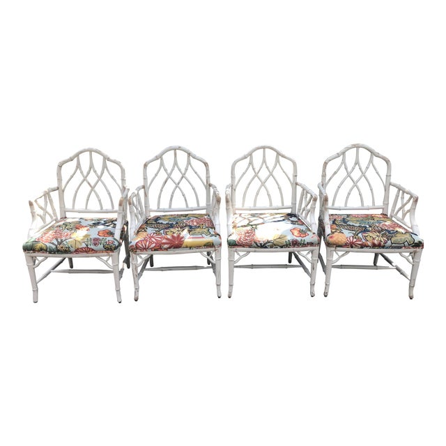 Chinese Chippendale Faux Bamboo Arm Chairs - Set of 4 For Sale