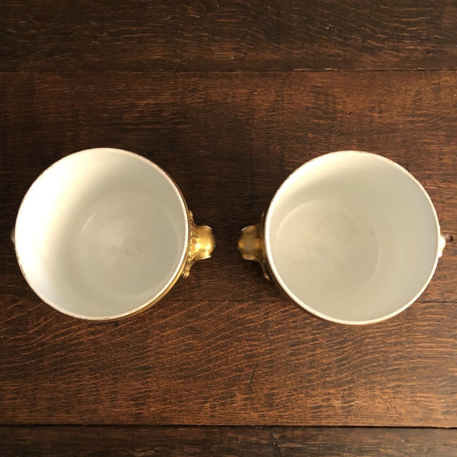 Antique French Gilt Soft Paste Two Handled Seaux a Bouteille or Wine Buckets - a Pair For Sale - Image 9 of 13