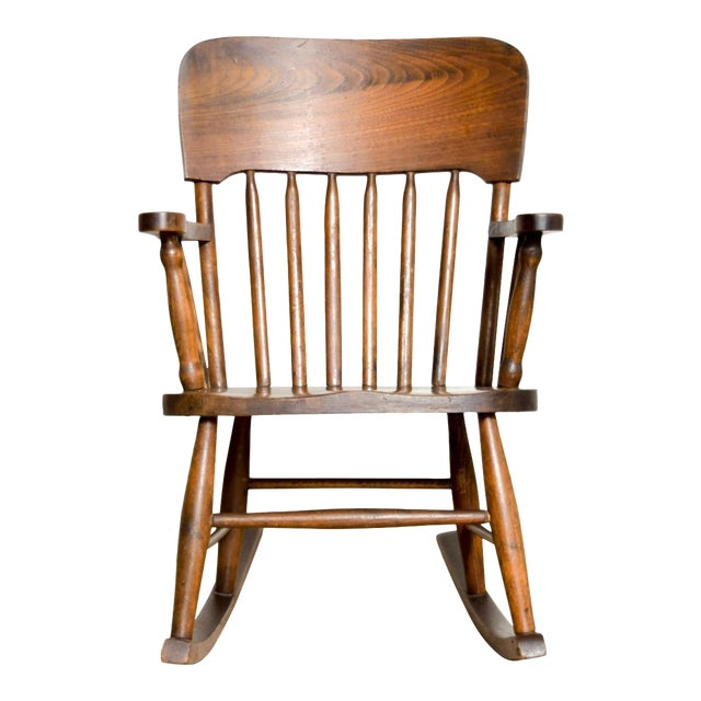 Antique Turn-of-the-Century Handcrafted Spindle Back Child's Wooden Rocking Chair For Sale