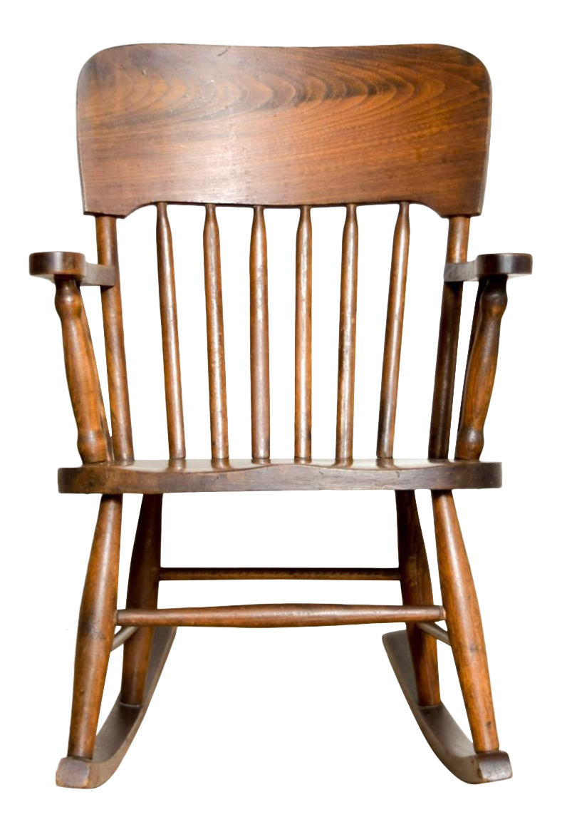 Antique Turn Of The Century Handcrafted Spindle Back Childu0027s Wooden Rocking  Chair