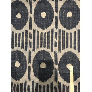 Chinoiserie Thibaut Fabric Pattern Mesa Ikat 2 1/2 Continuous Yards of Linen Fabric in Blue For Sale