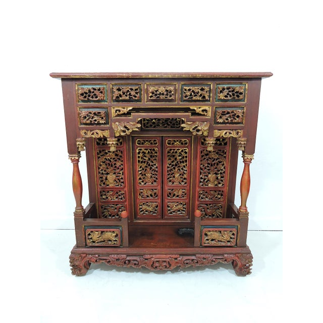 20th Century Ornate Asian Red & Gold Carved Console Table, Thai 'Spirit House' For Sale - Image 10 of 10