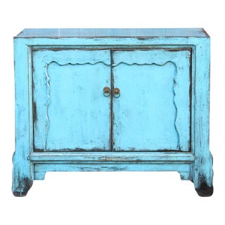 Turquoise Blue Asian Cabinet For Sale