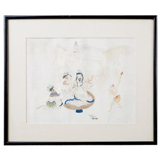 Chinese Framed Water Color of a Man and Woman For Sale