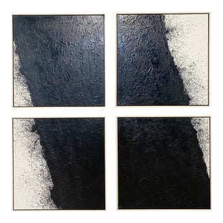 "John O'Hara ""Tar, 46 (Decontructed)"" Encaustic Painting, 4 Panels For Sale"