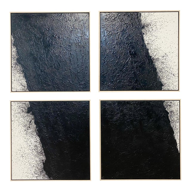 "John O'Hara ""Tar, 46 (Decontructed)"" Encaustic Painting, 4 Panels For Sale"