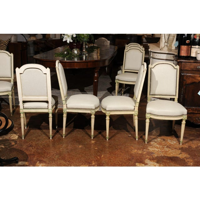 French Set of Eight French Louis XVI Style Painted Dining Chairs with New Upholstery For Sale - Image 3 of 13