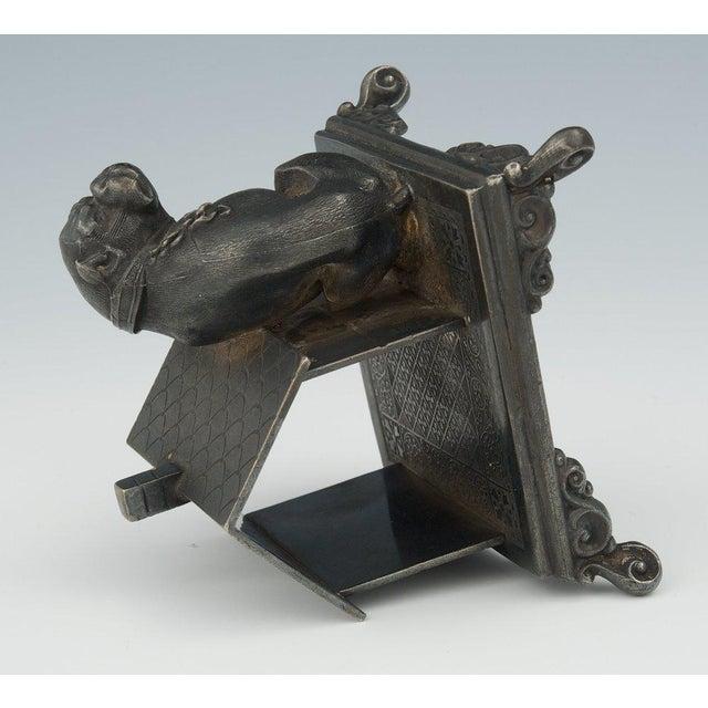 Figurative Victorian Figural Quadruple Silver-Plated Bulldog Napkin Holder For Sale - Image 3 of 6