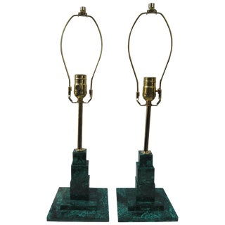 Pair of Malachite Lamps For Sale
