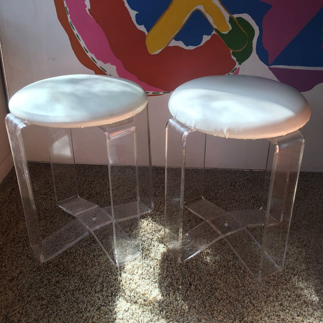 Mid-Century Modern Lucite Vanity Stools- a Pair For Sale - Image 9 of 13