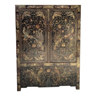 Vintage Chinese Black Lacquer Gilt Painted Cabinet With Phoenix Design For Sale