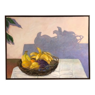 "1980s Large Scale ""Basket of Fruit"" Still Life Oil Painting on Canvas For Sale"