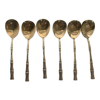 Vintage Mid-Century Brass Faux Bamboo Soup Spoons - Set of 6 For Sale