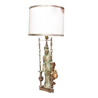 Vintage Asian Lady Figural Table Lamp For Sale