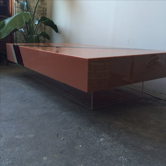 Vintage Pink Mica & Lucite Cocktail Table - Image 8 of 10