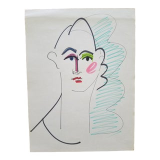 1990's Vintage Blue Hair Drawing by Terry Frid For Sale