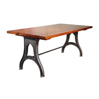 Industrial Desk – Walnut Top With Cast-Iron Legs For Sale