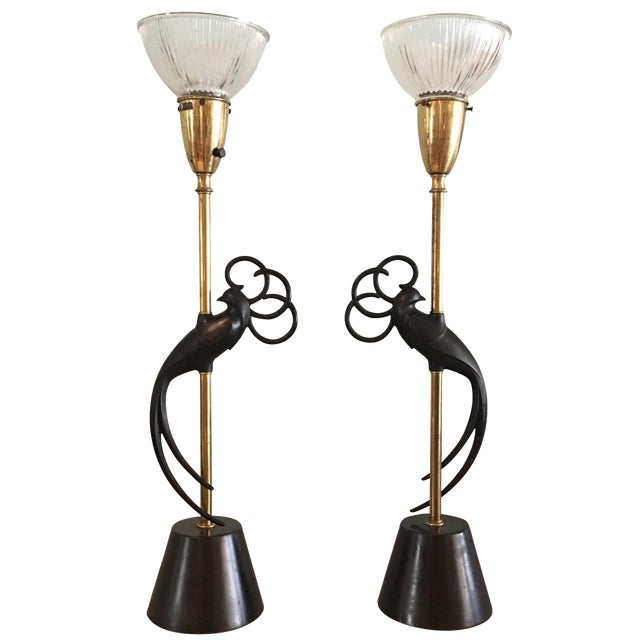 "Absolutely stunning pair of Art Deco peacock black and brass lamps. They retain the"" Rembrandt"" label which was a very..."