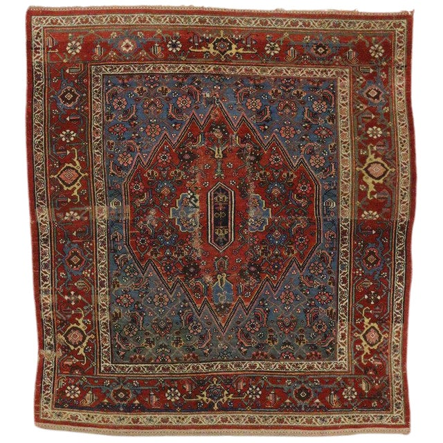 Early 20th Century Antique Persian Malayer Accent Rug - 4′9″ × 5′3″ For Sale