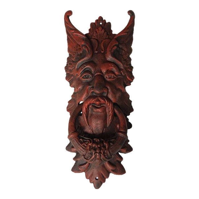 Antique Cast Iron Demon Gargoyle Door Knocker For Sale