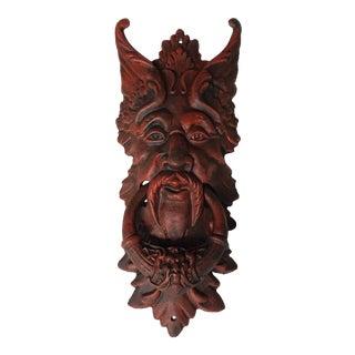 Antique Cast Iron Devil Door Knocker For Sale