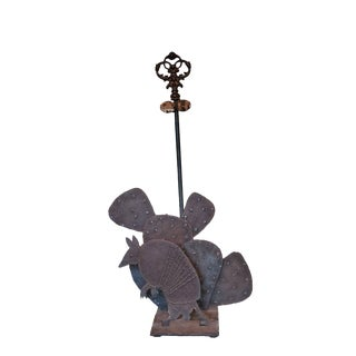 Vintage Western Ranch Style Armadillo, Cactus & Railroad Tie Iron Fireplace Tool Holder For Sale