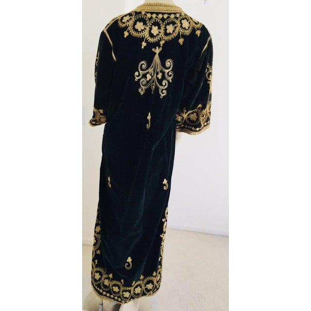 1960s Vintage Caftan, Black Velvet and Gold Embroidered, 1960s For Sale - Image 5 of 13