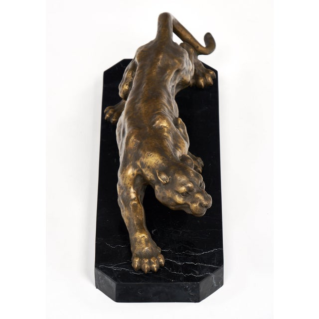 Vintage French Bronze Panther Sculpture For Sale In Austin - Image 6 of 10