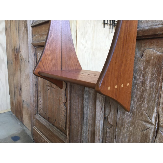 1960s Vintage Walnut Entry Mirror For Sale - Image 9 of 11