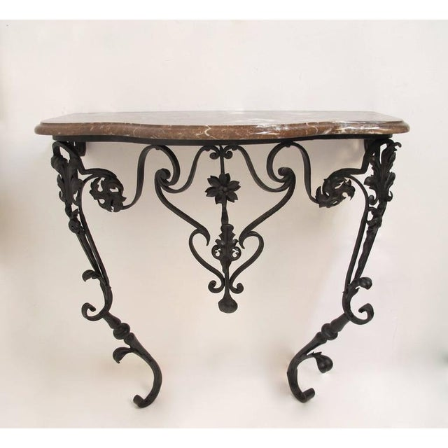 19th Century French Wrought Iron and Marble Console Table - Image 2 of 8