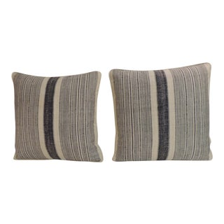 1970s Vintage Chinese Homespun Blue & Natural Stripes Pillows - a Pair For Sale