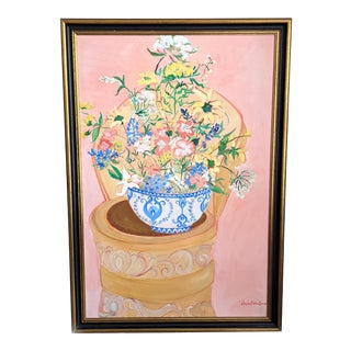 1980s Floral Still Life Oil Painting by Carolyn Sihler Conners, Framed For Sale