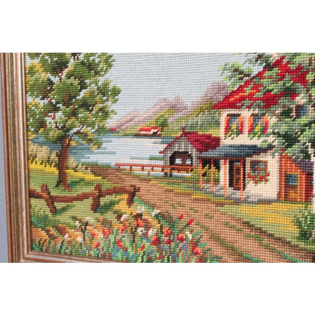 Vintage Framed Country Home Needlepoint For Sale - Image 9 of 10