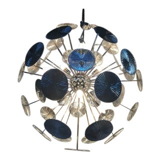 Venini Style Metal Plate Sputnik Chandelier No Murano Glass For Sale