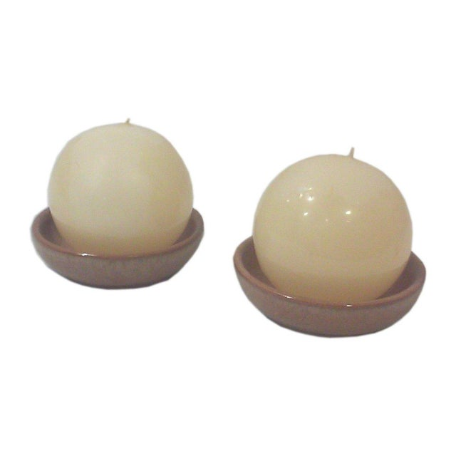 Modernist Ceramic Spherical Candle Holders - Pair - Image 1 of 3