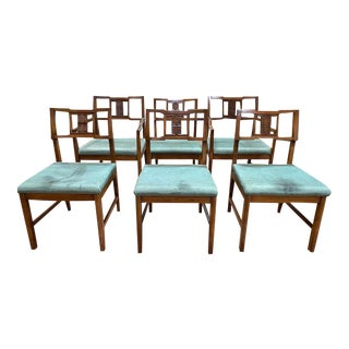 Set of 6 Mid Century Asian Inspired Dining Chairs, Signed For Sale