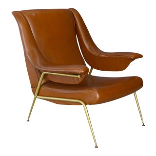 50's Italian Armchair in Original Leather and Brass. For Sale