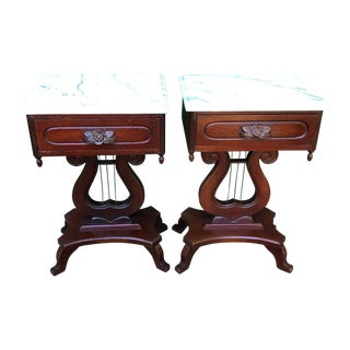 Marble Top Lyre Design Mahogany Tables - a Pair For Sale