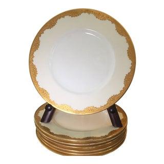 Minton Gold Encrusted Dinner Plates Pattern H2564 - Set of 7 For Sale