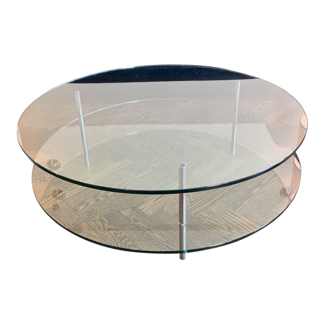 Round Glass And Chrome Coffee Table Chairish