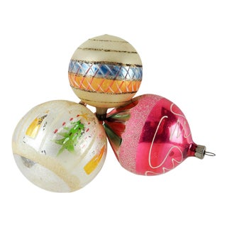 Hand Blown Large Christmas Ornaments - Set of 3 For Sale
