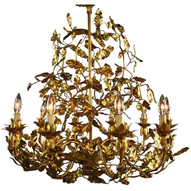 Italian Golden Metal Chandelier For Sale