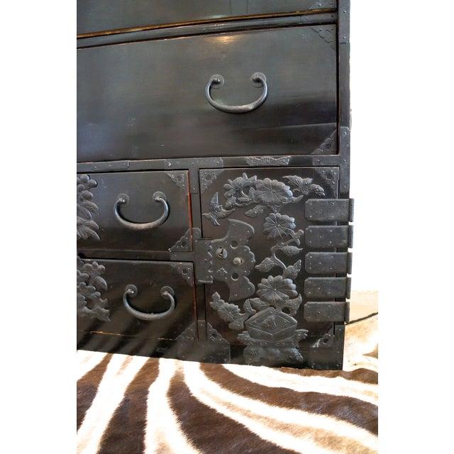 Vintage Black Lacquer Tansu Dresser - Image 9 of 9