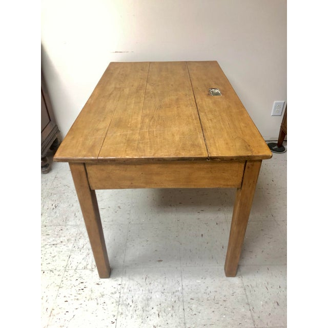 Antique Country Farm Table / Desk With Two Drawers For Sale - Image 10 of 13