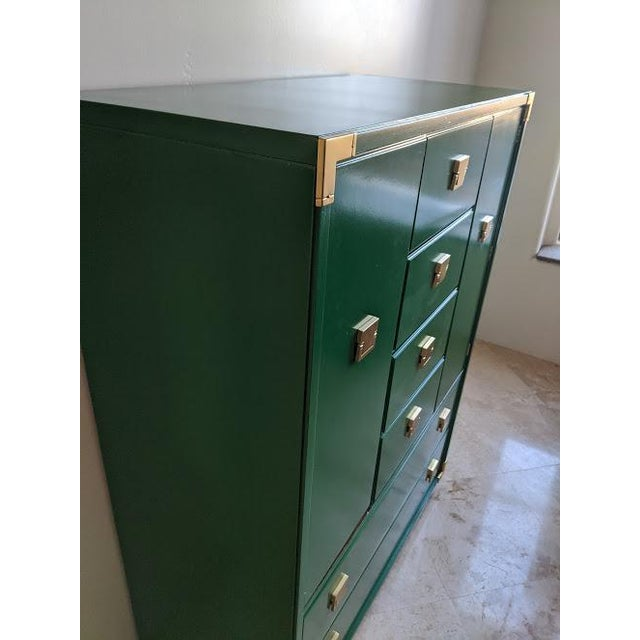 Thomasville 1970s Thomasville Campaign Gloss Green Highboy Dresser For Sale - Image 4 of 10