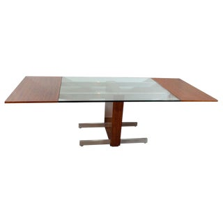"Mid-Century Walnut, Brushed Aluminum & Glass ""Cubist"" Table by Vladimir Kagan For Sale"