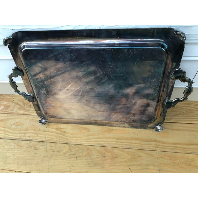 1960s Vintage Silver on Copper Tray For Sale - Image 5 of 8