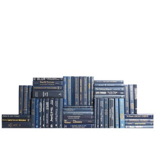 Modern Navy Book Wall - Set of Fifty Decorative Books
