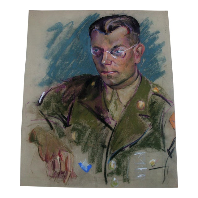 1940s Masculine Pastel Portrait of an Army Man - Image 1 of 2