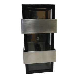 Troy Lighting Black Wall Sconce With Brushed Steel Accents For Sale
